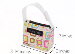 Pacifier Tote with dimensions
